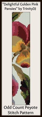 Trinity Designer Jewellery Delightful Golden Pink Pansies 'In the Raw' Odd Count Peyote Stitch Digital Download Pattern