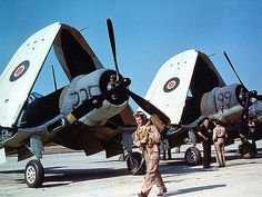 The Royal Navy obtained Corsair's from the United States on lend lease in early 1943. Fleet Air Arm pilots were sent to the U.S. for training on these aircraft.