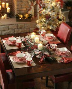 Table Noél rouge blanc