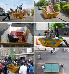 """creative """"urban"""" dumpster diving.  they even used it as a pool... ack!"""