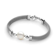 Ikecho' White 13mm Freshwater Pearl Silver colour Plated stainless ste - For the Love of Gold