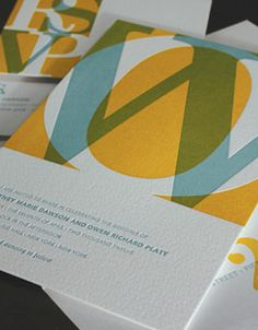 Mustard Seed, Sea Mist Fusion Letterpress Wedding Invitation -elum