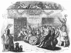 This 1845 engraving shows a group of people bringing in a Yule log.