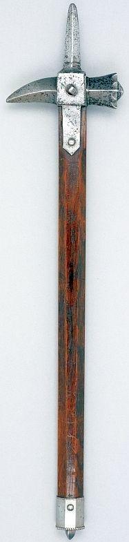 European (France) war hammer, circa 1450, iron and oak, Width: 15.5 cm, hammer and beak, Length: 9.5 cm, top spike, Weight: 1.22 kg, Length: 71 cm, total length.
