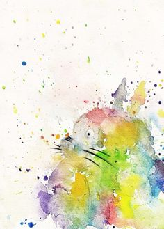 Rainbow splash Totoro - I want this on a tee or a tote bag