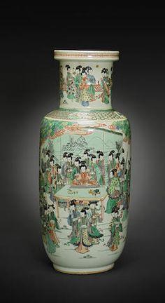 A prolific, famille verte enameled porcelain baluster vase Kangxi mark, 19th century.