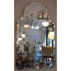 an addition to our many deco mirrors above our sofa Beveled Edge Mirror, Mirrors, Chandelier, Sofa, Ceiling Lights, Lighting, Vintage, Home Decor, Candelabra