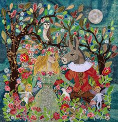 My sewn picture of A Midsummer Nights Dream by Lucy Levenson  # appliqué #Sewing…