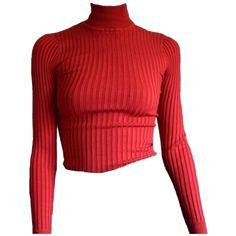 Designer Clothes, Shoes & Bags for Women Tight Crop Top, Crop Tops, Red Turtleneck, Look Vintage, Character Outfits, Red Shirt, Mode Style, Aesthetic Clothes, Turtle Neck
