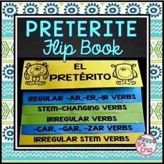 Spanish Preterite Conjugations Flip BookThe preterite tense might be a monster to conjugate, but this flip book can help!  It has notes and conjugation practice for regular preterite conjugations, irregular preterite, stem-changing preterite, -car, -gar-, -zar verbs, and irregular stem verbs in the preterite.Each page has notes and conjugation practice.