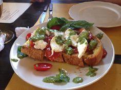 Amazing bruschetta on homemade bread from the wonderful Caffe Giardino in San Gimignano, Tuscany