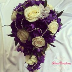 cascading purple and green bridal bouquets | Via Tori - Platinum Elegance Weddings & Events