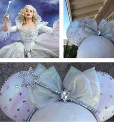 Disney's Cinderella/Fairy Godmother Inspired Minnie Mouse Disney Ears - Source Instagram @ourretroart