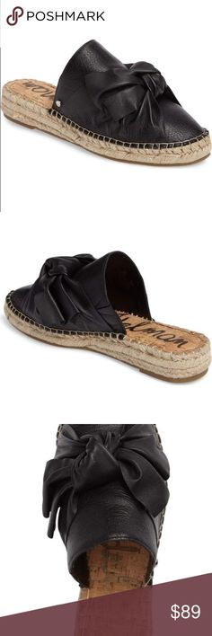 """SAM EDELMAN Lynda espadrille slide sandal mule New without box- department store tags attached  SAM EDELMAN Lynda Espadrille Slide Sandal mule size 6.5 bottoms show minimal wear from being tried on in store Braided espadrille trim wraps the platform wedge of a leather slide sandal featuring an oversized bow at the toe for a standout warm-weather look. 1 1/4"""" heel; 1"""" platform (size 8.5) Slip-on style Leather upper/synthetic lining and sole Sam Edelman Shoes"""