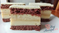 Vysoké vanilkové řezy   NejRecept.cz Izu, Tiramisu, Cheesecake, Food And Drink, Health Fitness, Ethnic Recipes, Pastries, Drinks, Drinking