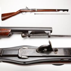Hall Carbine - Our GOTD, the Hall Model 1836 carbine, had a couple of strikes against it. The breechloading system designed by John H. Hall tended to leak abundantly and the reversed bayonet was awkward to deploy.  Some of the 2,020 examples of this model mare known to have been issued to the 2nd Dragoons serving in Florida and our carbine even has a sling ring mounted on the wrist.  But for a .64 caliber smoothbore, it wasn't all bad. At the NRA National Firearms Museum in Fairfax, VA.