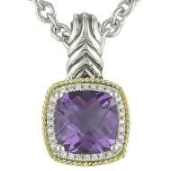 Andrea Candela's 18kt yellow gold and sterling silver Amethyst and diamond Pendant. Love this color amethyst and it looks amazing with any outfit and other jewelry.