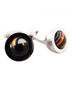 Buy Black & Stripe Rolling Ball Cufflinks by Paul Smith - Accessories from our Cufflinks range - Black, Multi, Spring Summer 2014 - @ Jonathan Trumbull