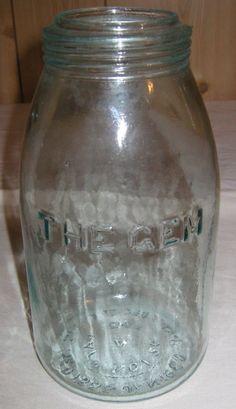 """Antique """"THE GEM"""" Blue Mason Jar Pat'd 1867 Bubbles Quart Rare Fruit"""