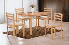 Hodedah 5 Piece Wood Dining Set, Table and 4 Chairs, Beech