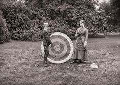 Robert Edward Dillon and his sister Georgiana, practising archery in the grounds of Clonbrock House, Co. Galway, 1883 History in Photos: Vintage Ireland Vintage Photographs, Vintage Photos, Cultural Beliefs, Victorian Gardens, Victorian Era, Kingdom Of Great Britain, Historical Images, Target Audience, Picture Show