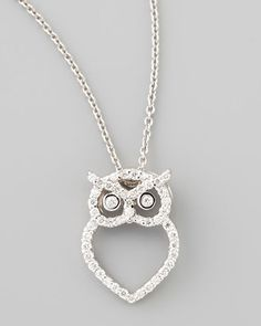 18k White Gold Diamond Owl Necklace by Roberto Coin at Neiman Marcus. I know someone who would LOVE this!