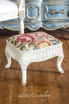 Vintage Wicker Foot Stool Needlepoint Upholstery by edithandevelyn