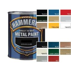Hammerite colour chart. | Rusted metal, Color mixing, Colours