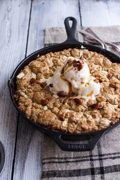 Caramelized Peach + White Chocolate Oatmeal Skillet Cookie Pie | halfbakedharvest.com @hbharvest