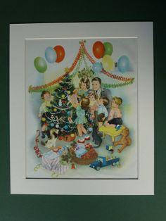 Original 1953 Christmas Scene Print  Fir Trees  by PrimrosePrints, £12.00