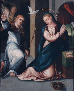 1560.Anunciación del Ángel a María.Attributed to Baltasar del Águila (1540-1599) Attributed to Gabriel Rosales.Museo de Bellas Artes de Córdoba.oil on panel.63х60 cm.