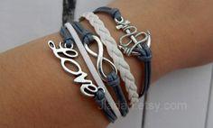 bracelet # gray weaving#ancient silver infinite# love#anchor bracelet# ink jiangnan #scenery beautiful bracelet#