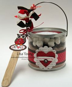 Anyone like soup? How about some Love Soup?! Ok it's not real soup, it's really a yummy combination of Hot Cocoa mix, milk chocolate morsels, mini marshmallows, a stirring stick, and Love Poem, all packaged together for a special chocolaty gift.