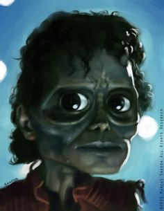 Caricatura de Michael Jackson en Thriller.