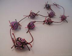 Big bead necklace hand sculpted irregular shape by RinasJewels #handmadejewelry #handmadenecklace #unusualjewelry #unusualnecklace #pricklynecklace #handsculpted