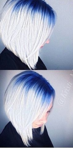 Navy blue gray white ombre dyed hair color @hairgod_zito