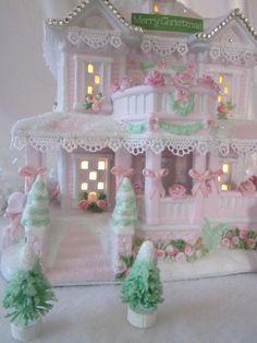 Pink Christmas house so pretty