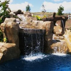 cool waterfall in pool
