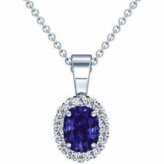 Platinum Cushion Cut Purple Sapphire And Round Diamond Pendant GemsNY. $2251.00