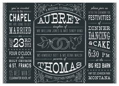 Chalkboard wedding invitations are incredibly trendy right now, and I love the style and ambiance that this style provides. It brings me