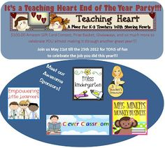 All Free Teacher Resources - Teaching Heart is Having an End of Year Party and You're Invited!    My blogger friend, Colleen from Teaching Heart has invited me to be a sponsor for her end of year party. This party lasts for a whole week! There is a one hundred dollar Amazon gift card and other prizes to be won.