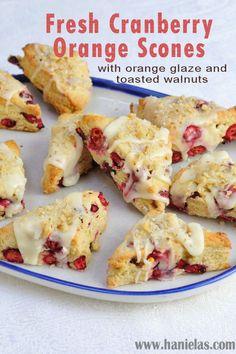 Fresh Cranberry Orange Scones with Orange Glaze and Toasted Walnuts made with Plain Chobani Greek Yogurt.