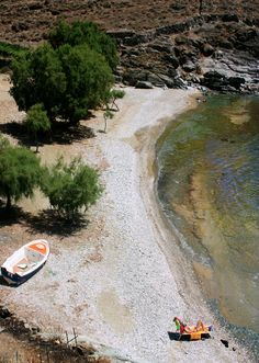 Overview on Antonides beach in Kanala, Tinos island, Cyclades, Aegean_ Greece