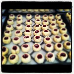 Mmmmm raspberry thumbprints coming out of the dehydrator.