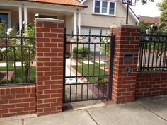 Bontott Tgla Kerts In 2019 Brick Wall Brick Fence . Our New Brick Letterbox For Home Parcel Delivery Deliver . Brick Fence, Front Yard Fence, Pool Fence, House Gate Design, Fence Design, Brick Wall Gardens, Garden Gates And Fencing, Garden Wall Designs, Porch Steps