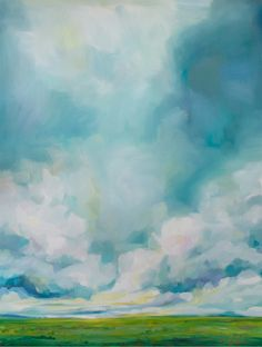 Emily Jeffords, gorgeous sky, clouds, oil painting, 36x48 inches, oil on canvas