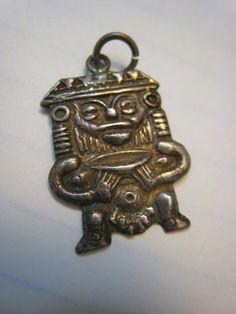 Tribal Inca Vintage 900 Sterling Silver Totem Man Pendant Fertility