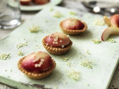 Created by Rachel Khoo for Miele. Delectable Elderflower and Peach Frangipane Tartlets full of fresh summer flavours.