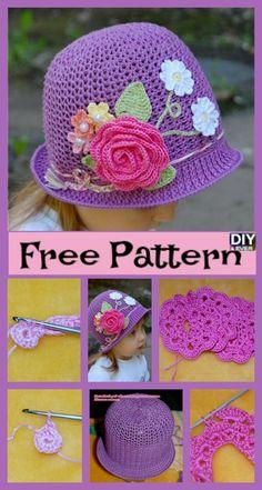 Crochet Flower Hat, Flower Hats, Crochet Baby Hats, Crochet For Kids, Diy Crochet, Sombrero A Crochet, Kids Hats, Crochet Projects, Free Pattern