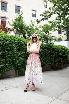 long skirt white top
